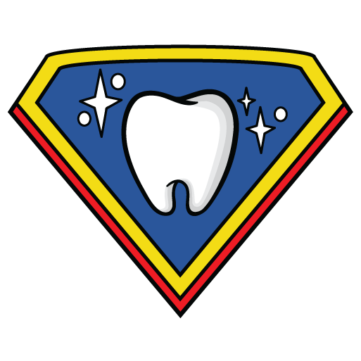 Super Kids Austin dentist logo sparkling Tooth on a blue shield