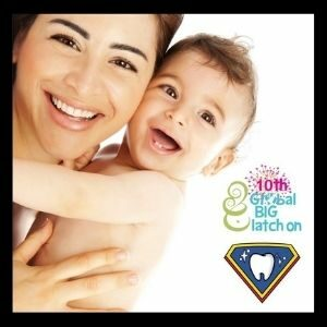 """A woman smiles and holds an infant. A graphic displays """"The Big Latch On"""" logo and Super Kids Austin logo."""
