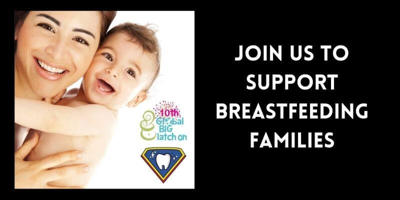 "A mother holds her baby and smiles. There is a graphic of The Big Latch On and a label that says ""Join us to support breastfeeding families."""
