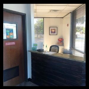 Our front desk after some social distancing improvements.