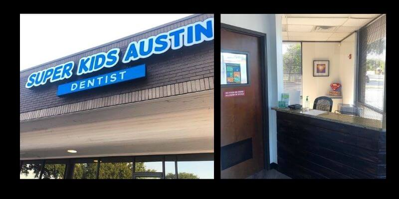 Two images. The first is of the Super Kids Austin sign and the second is the front desk.