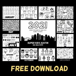 Monthly coloring pages for the 2021 Kids Coloring Calendar. Label says: Free Download