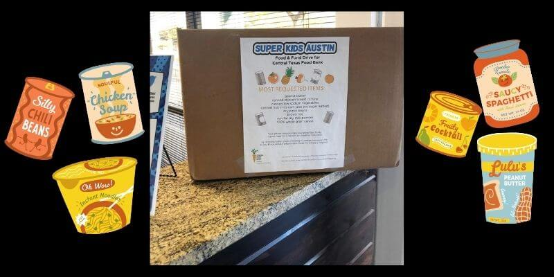 Food drive donation box in our office surrounded by drawings of canned goods.