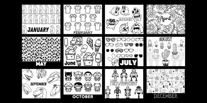 Monthly coloring pages for the 2021 Kids Coloring Calendar.