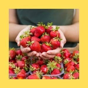 A woman holds a handful of strawberries over a table of strawberries.