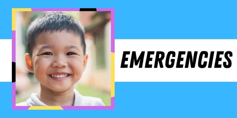 A boy smiles at the camera. The label says: Emergencies
