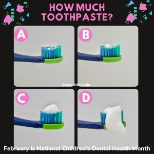 How much toothpaste? A. Barely any, B. Pea-sized amount, C. Covering the brush like in commercials D. Falling off the brush